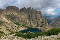 The Capitellu Lake from GR20 trail, Corse, France. Stock Photography