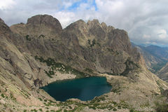 The Capitellu Lake from GR20 trail, Corse, France. stock images