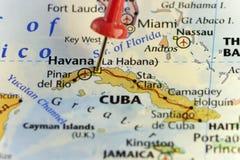 Capitol της Αβάνας καρφωμένου του η Κούβα χάρτη διανυσματική απεικόνιση