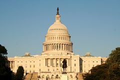 Capitol. At Sunset With Blue Sky in the background Royalty Free Stock Image