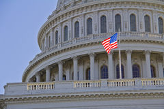 Capitol. Washington DC , Capitol Building with American flag - detail, USA Stock Photography