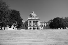 Capitol. Harrisburg Pa State Capitol shot in black & white Royalty Free Stock Images
