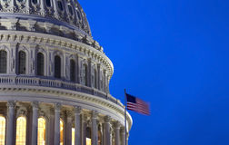 Capitol Building Dome. With American Flag at night - detail, Washington, DC, USA Stock Image