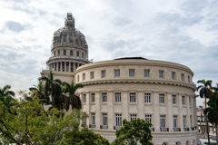 Capitol building or El Capitolio Havana Cuba. Capitol building or El Capitolio lateral aerial view: The building is currently the Cuban Academy of Sciences and Stock Image