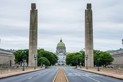 Capitol building in harrisburg, pennsylvania from the soilders a. Nd sailors memorial buildings Stock Images