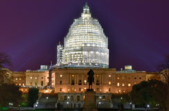 Capitol Building at Night Construction - Washington, D.C. Royalty Free Stock Photos