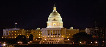 Capitol Building at Night, Washington DC Royalty Free Stock Images