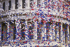 Capitol Building with red, white, and blue balloon. Detail of Capitol Building with red, white, and blue balloons Stock Images
