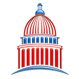 Capitol building Logo in red white and blue Stock Images