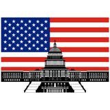 Capitol Building and the US flag Royalty Free Stock Photos