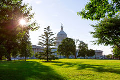 Capitol building Washington DC sunset garden US Royalty Free Stock Photography