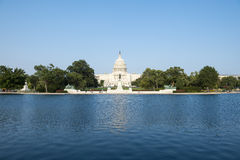 Capitol Building Washington DC USA with Pond. Capitol Building Washington DC USA scenic view with reflecting pond from the Mall Stock Image