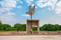 Capitol Complex, Chandigarh. The Open Hand Monument is a symbolic structure located in the Indian Union Territory of Chandigarh, India Stock Image