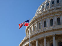 Capitol Dome. The United States Capitol dome and flag in Washington DC Stock Image