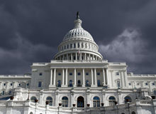 Capitol Dome with Dark Storm Sky Royalty Free Stock Images