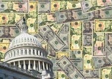 Capitol et argent comptant des USA Photographie stock libre de droits