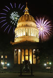 Capitol Fireworks. Composite image of fireworks and the WV State Capitol building Royalty Free Stock Photography