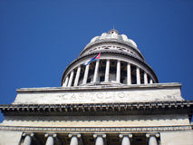 Capitol in Havana. Close-up on the Capitol dome and Cuban flag Royalty Free Stock Photo