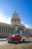 The Capitol of Havana, Cuba. A vintage car circulating in front of the Capitol of Havana, Cuba Royalty Free Stock Images
