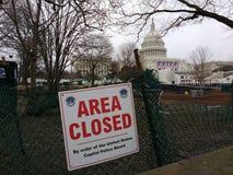 Capitol Hill, área cerrada por orden del tablero de la policía del capitolio de Estados Unidos, Washington, DC, los E.E.U.U. Fotos de archivo