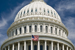 The Capitol Hill Geometries. The Capitol Hill closeup on waving US flag - Washington 2007 Royalty Free Stock Photography