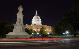 Capitol hill and the peace monument. At night Royalty Free Stock Image