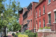 Capitol Hill. Residential street in Washington DC, USA. Colorful townhouses stock photos
