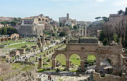 The best view of the ancient Roman Forum from the observation deck of Capitol Hill. The observation deck is located behind the royalty free stock photo