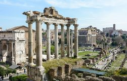 The best view of the ancient Roman Forum from the observation deck of Capitol Hill. The observation deck is located behind the royalty free stock photography