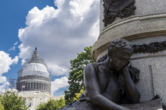 Capitol hill and statue Stock Photo