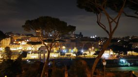 Capitol Hill. Via dei Fori Imperiali. Night. Rome stock footage