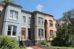 Capitol Hill. In Washington DC, capital city of the United States. Colorful townhouses royalty free stock image