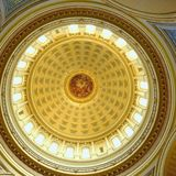 Capitol inter dome wis sq. Showing the ornate round Rotunda dome created by famous architect Edwin Blashfield in the City of Madison wisconsin in the united stock images