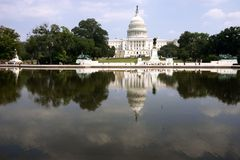 Capitol and its reflection. Capitol building and it's reflection in water, Washington DC Stock Images
