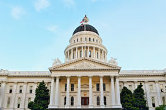 Capitol museum and blue sky. California State Capitol Museum located at Sacramento, the capital of California state royalty free stock photography