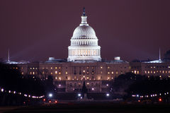 Capitol at night. From Washington Mall Stock Image