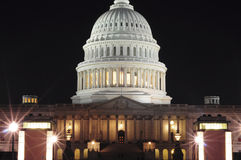 Capitol at Night Close Stock Photo
