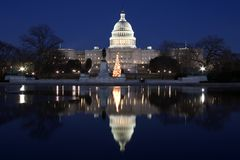 Capitol at night with reflection Stock Photos