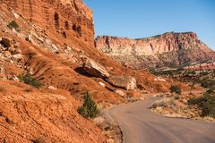 Capitol Reef Curved Road Royalty Free Stock Photo