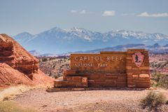 Capitol Reef Entrance Sign. Capitol Reef National Park Entrance Sign. Utah, United States Royalty Free Stock Images