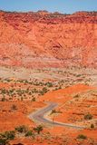 Capitol Reef Geology. Capitol Reef National Park, Utah, United States. Curved Park Road Royalty Free Stock Photo