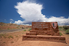 Capitol Reef National Park Sign Royalty Free Stock Images
