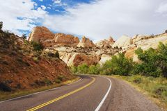 Capitol Reef, Utah. Capitol Reef, View from road on the white domes, Utah Royalty Free Stock Photo