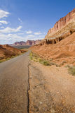 Capitol reef. A view on capitol reef national park with a road crossing Royalty Free Stock Image