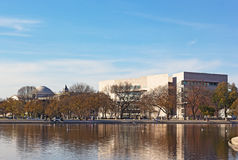 The Capitol Reflecting pool at National Mall in US capital. WASHINGTON DC, USA – NOVEMBER 26, 2015: The Capitol Reflecting pool and National Art Gallery Royalty Free Stock Photo