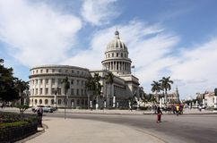 Capitol street view in havana, cuba Royalty Free Stock Images