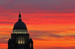 Capitol Sunset. Rhode Island Statehouse at sunset royalty free stock image