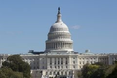 The Capitol, Telephoto View. Sidelit.  Clear Sky Stock Images