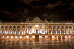 Capitol of Toulouse, night view stock photos