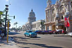 Capitol and traffic near the Central Park, Havana, Cuba Royalty Free Stock Photo